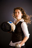 Fencing Business Woman Stock Image