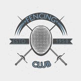 Fencing club badge illustration with foil and mask. Sport vintage crest. Fencing club badge illustration with foil and fencing mask. Sport vintage crest. Vector Stock Photo
