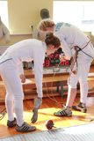 Fencing competitions among young boys and girls stock photography