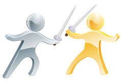 Fencing concept. Of two people fighting with swords, concept fo competition or similar Stock Photo