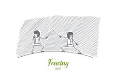 Fencing concept. Hand drawn isolated vector. Fencing concept. Hand drawn fencing players on ring. Two fencers attack each other isolated vector illustration Royalty Free Stock Photos