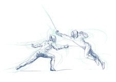 Fencing duel. Full-sized (original) hand drawing (useful for converting live trace for the  image - and others). Technique: digital tablet. Number of colors Royalty Free Stock Images