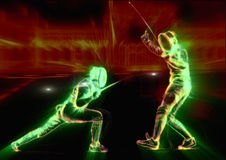 Fencing duel Stock Image
