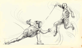 Fencing duel Royalty Free Stock Images