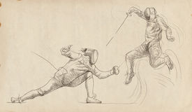 Fencing duel Stock Photos