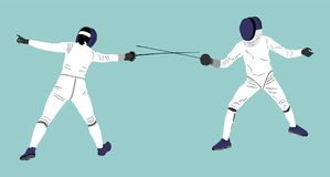 Fencing duel competition. Sword fighting. Swordplay duel. Fencing players illustration isolated on background. Fencing duel competition. Sword fighting vector illustration