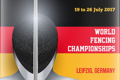 Fencing event poster Stock Image