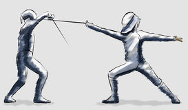 Fencing, fencers race, combat encounter. On a grey background Royalty Free Stock Photo