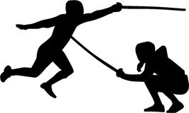 Fencing fight. Silhouette of two fencer Stock Image