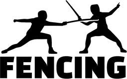 Fencing fighter with epees. Fencing fighter silhouettes with epees Royalty Free Stock Images