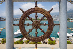 Fencing in the form of hand wheel of coastline sea port of Alanya Stock Photography