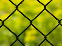Fencing with green background. Close up of wire fence with green background royalty free stock photo