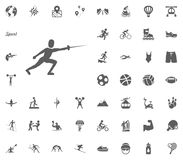 Fencing icon. Sport illustration vector set icons. Set of 48 sport icons. Fencing icon. Sport illustration vector set icons. Set of 48 sport icons Royalty Free Stock Photography
