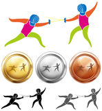 Fencing icon and sport medals Royalty Free Stock Photos