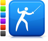 Fencing icon on square internet button Stock Image