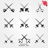 Fencing icons. Crossed rapiers, swords or fencing duel flat icon for games and websites Stock Images