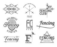 Fencing icons vector set. Emblems, badges. Fencing icons vector set. Fencing emblems design elements. Fencing club badges Stock Images