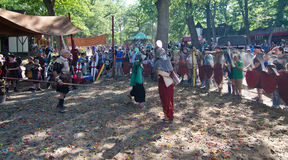 Fencing Lesson. Two children face off in the fencing pen at the Bristol Renaissance Faire in Wisconsin Stock Photo