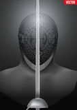 Fencing mask vector background illustration. Fencer holding a sword in front of the mask. Background of Fencing symbol. Epees and helmet mask. Vector Royalty Free Stock Images