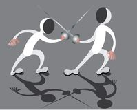 Fencing match session. Two fencers in fierce combat Royalty Free Stock Photo