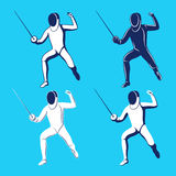 Fencing men collection. Men's epee. Stock Images