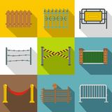 Fencing modules icon set, flat style vector illustration