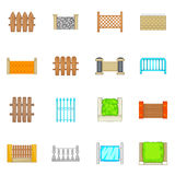 Fencing modules icons set, cartoon style Royalty Free Stock Photo