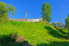 Fencing of Novotorzhsky Kremlin in Torzhok city, Russia Royalty Free Stock Photo