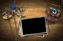 Fencing - Old Camera and Photo Frames Stock Photo