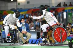 Fencing in  Paralympic games 2016 Royalty Free Stock Images