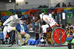 Fencing in  Paralympic games 2016 Royalty Free Stock Image
