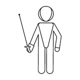 Fencing player sport athlete outline Stock Photos