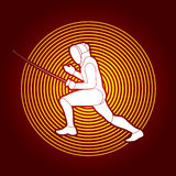 Fencing. Pose designed on cycle light background graphic vector Stock Photography