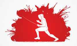 Fencing. Pose designed on grunge splash blood background graphic vector Royalty Free Stock Image