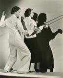 Fencing practice stock photo