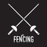 Fencing rapiers icon. Fencing emblem. Two crossed rapier swords with retro style texture. Vintage vector icon Stock Photo