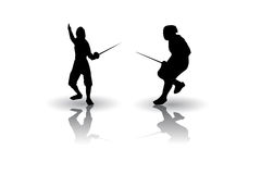 Fencing silhouette Royalty Free Stock Images