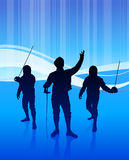 Fencing Sport on Abstract Blue Background Royalty Free Stock Photo