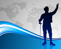 Fencing Sport on Abstract World Map Background Royalty Free Stock Photography
