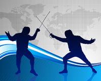 Fencing Sport on Abstract World Map Background Royalty Free Stock Images