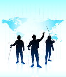 Fencing Sport on Abstract World Map Background Stock Image