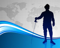 Fencing Sport on Abstract World Map Background Stock Images
