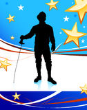 Fencing Sport on American Patriotic Background. 