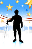 Fencing Sport on American Patriotic Background Stock Photo