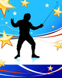 Fencing Sport on American Patriotic Background Royalty Free Stock Image