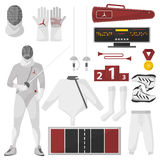 Fencing sport equipment vector set. Isolated on white Stock Image