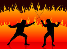 Fencing Sport on Fire Background Royalty Free Stock Photos