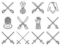 Fencing sport icons set, outline style vector illustration