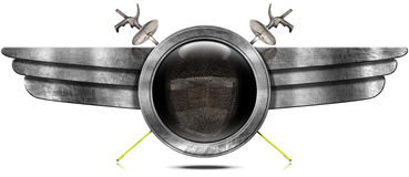 Fencing Sport - Metal Symbol with Wings Stock Photography