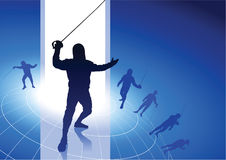 Fencing Sport on Wire Globe Background Stock Images